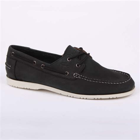 Lacoste Black Boat Shoes by Lacoste Corbon 5 Mens Laced Leather Boat Shoes Black