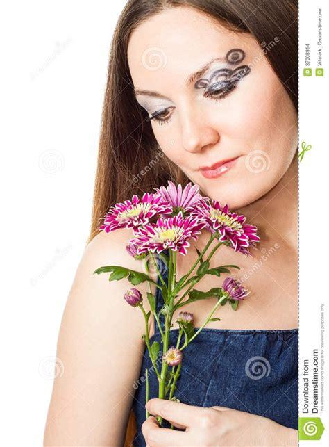 close   portrait  beautiful model woman  stylish creative makeup  body art  white