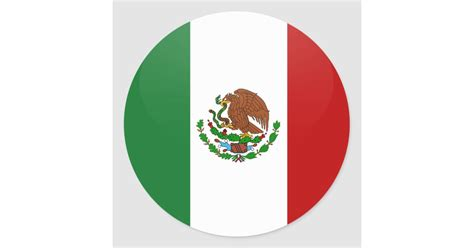 Mexico quality Flag Circle Classic Round Sticker | Zazzle.com