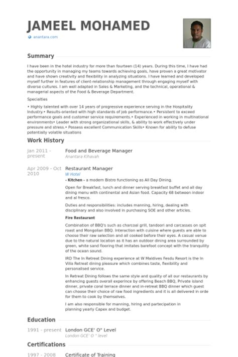 food  beverage manager resume printable planner template