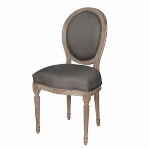 Chaise medaillon en coton et chene massif grise louis for Chaise medaillon maison du monde