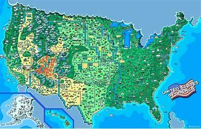 Map Usa Bit United America Pixels West
