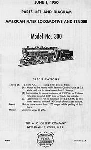 American Flyer Locomotive 300 Parts List  U0026 Diagram