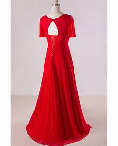 plus size flowing red chiffon sweep train long formal With plus size flowing wedding dresses