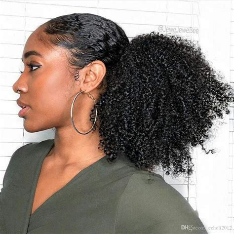brazilian kinky curly human hair ponytail  black women