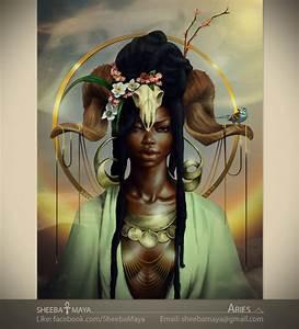 ARIES Zodiac African American Art Black Woman Goddess