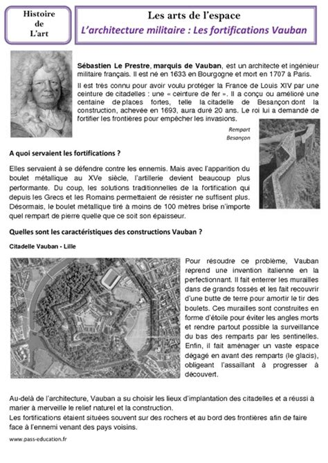 les temps modernes histoire des arts 3eme architecture militaire fortifications vauban cm1 cm2 arts de l espace histoire des