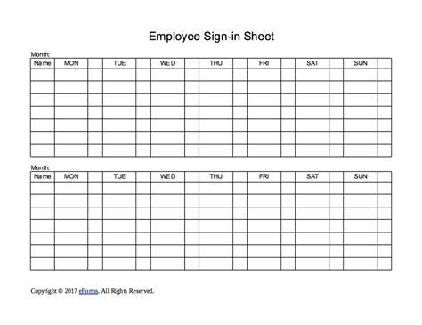week employee sign  sheet template eforms