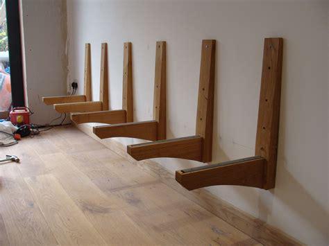 wall hung oak bench
