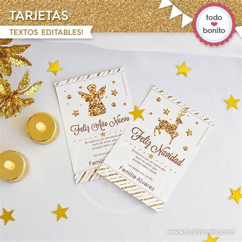 Navidad Glitter Dorado Tarjeta  Todo Bonito