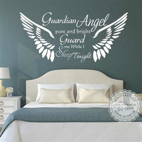 guardian angel bedroom wall sticker quote with angel wings home wall decor decal