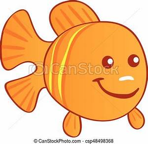 Happy cartoon orange fish.