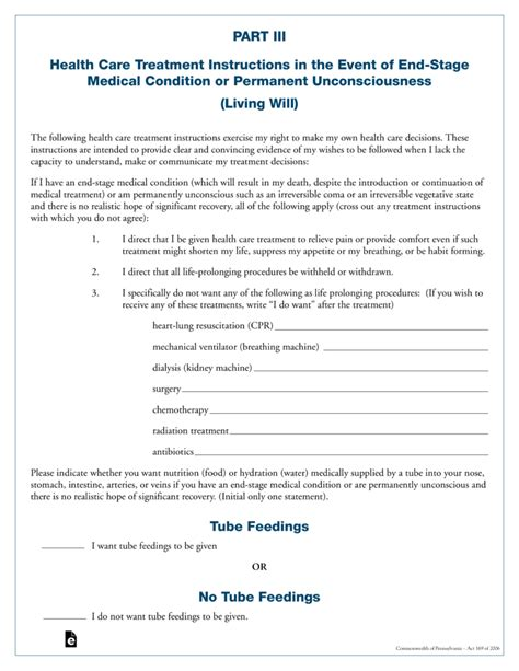 Living Will Template Free Pennsylvania Living Will Form Pdf Eforms Free