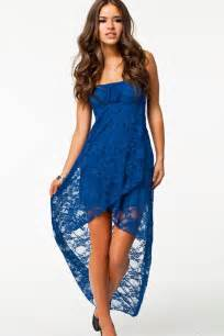 blue lace strapless high low dress casual dresses women