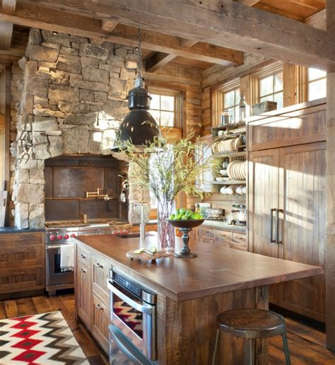 warm cozy rustic kitchen designs   cabin