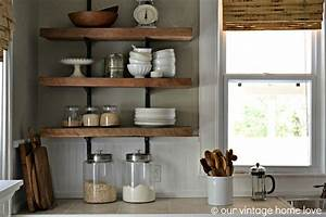 vintage home love reclaimed wood kitchen shelving reveal With kitchen cabinets lowes with old world metal wall art