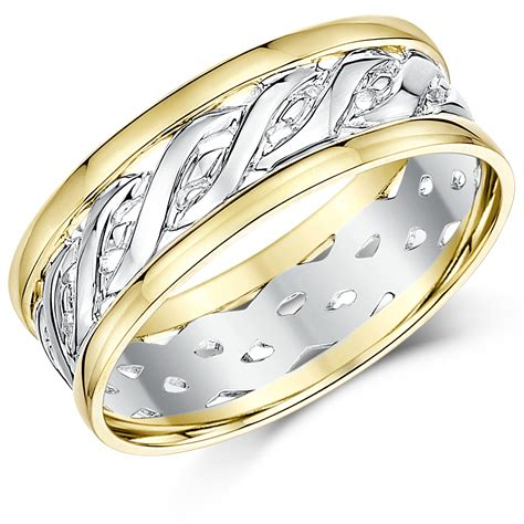 his hers 6 7mm 9ct gold two colour celtic wedding rings 9ct two colour at elma uk jewellery