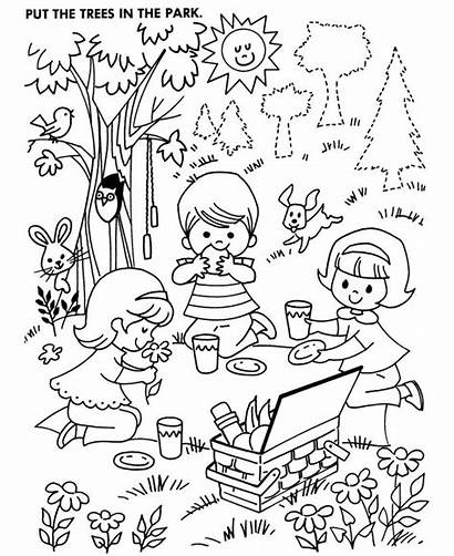 Coloring Pages Activity Picnic Counting Park Objects