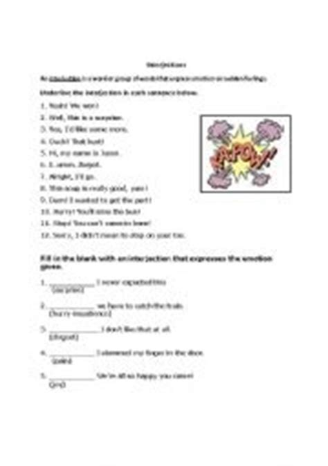 English Worksheets Interjection Worksheet
