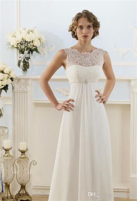 Lace Chiffon Empire Wedding Dresses 2017 Sheer Neck Capped