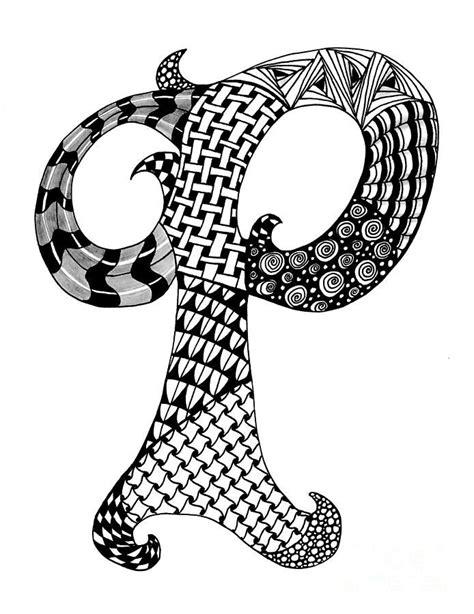 zentangle letter p monogram  black  white drawing black  white drawing zentangle