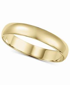 macy39s 14k gold 4mm wedding band in metallic for men lyst With macys mens wedding rings