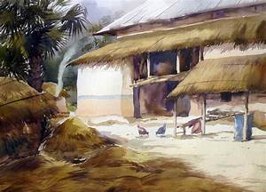 Buy Painting Village Landscape Artwork No 7477 by Indian ...