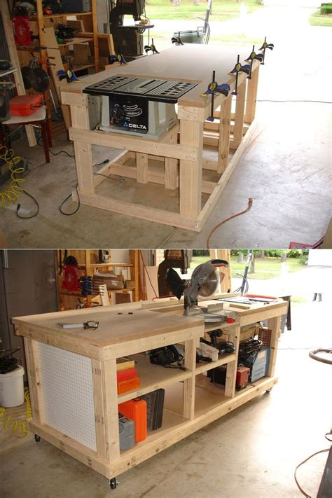 table saw workbench woodworking plans diy ultimate workbench table saw and outfeed chop saw