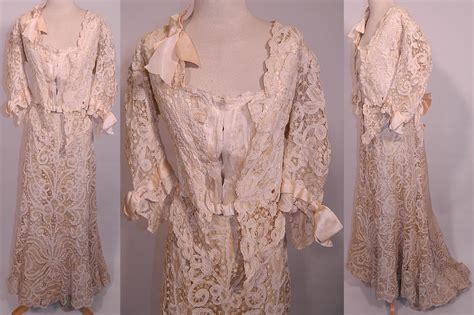 Vintage Edwardian Antique Battenburg Tape Lace Wedding