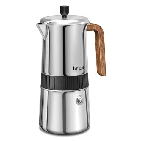 Shipped with fedex ground or fedex home delivery. 6 Cup Moka Maker with Wood Finish Handle - BRIM