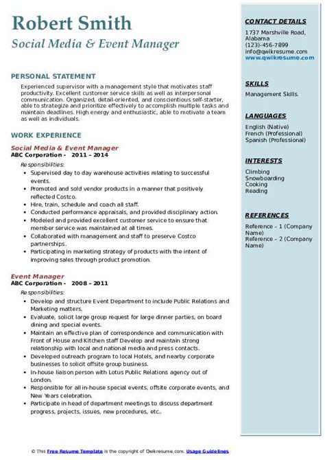 event manager resume samples qwikresume