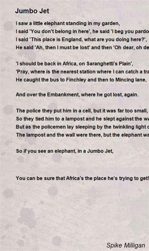 jumbo jet poem  spike milligan poem hunter