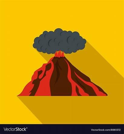 Volcano Flat Icon Erupting