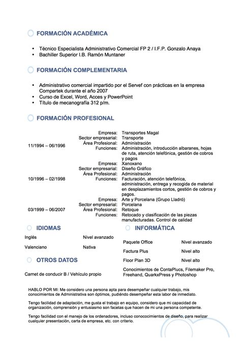 De Cv by Curriculum Vitae Redactado Modelo De Curriculum Vitae