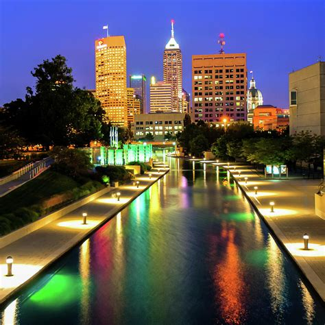 City Indiana by Downtown Indy Skyline Indianapolis Indiana 1x1