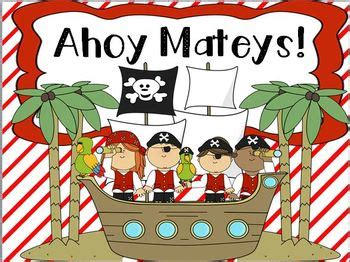 ahoy matey pirate themed math  literacy centers tpt