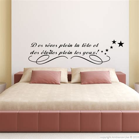 stickers phrase chambre adulte stickers muraux citations sticker des rêves plein la