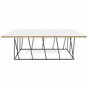 helix white black rectangle coffee table by temahome With long white coffee table