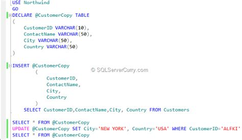 how to use temp table in sql server temporary table variables in sql server