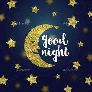 Good Night Wishes with Glitter Gold Cartoon Moon and Stars ...