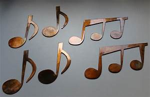 Music notes set of metal wall art copper bronze plated