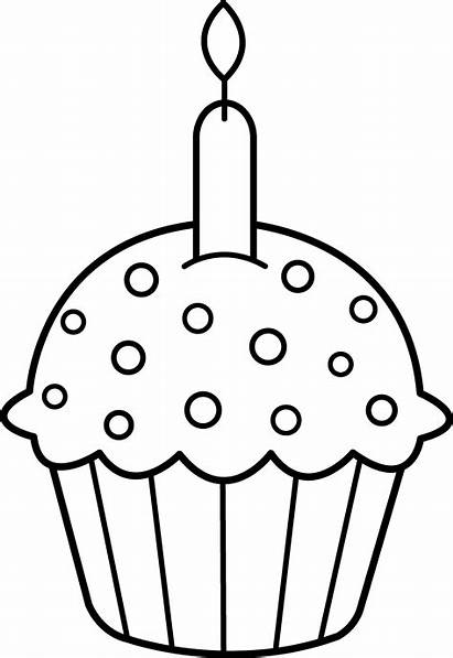 Cupcake Coloring Birthday Clip Line Candle Cupcakes