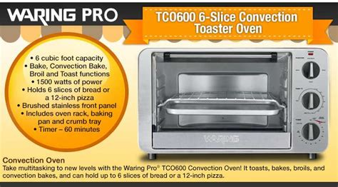 Waring Pro Tco600 6-slice Convection Toaster Oven