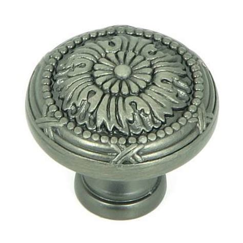 shop stone mill hardware floral weathered nickel round