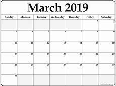 March 2019 free printable blank calendar collection