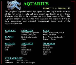 Zodiac Compatibility With Images Aquarius Horoscope