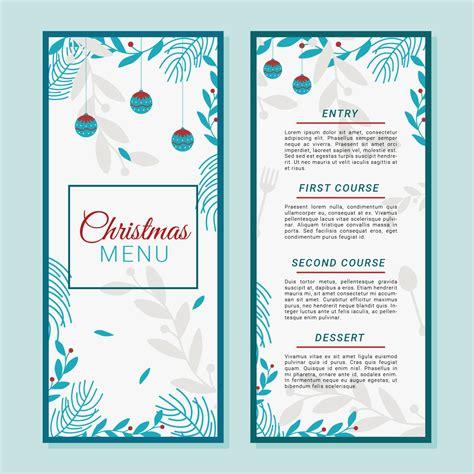 christmas dinner menu template vector