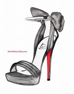 Watercolor Fashion Illustration Christian Louboutin by ...
