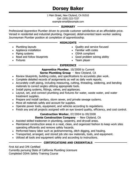 Plumbing Resume Objective by Best Apprentice Plumber Resume Exle Livecareer