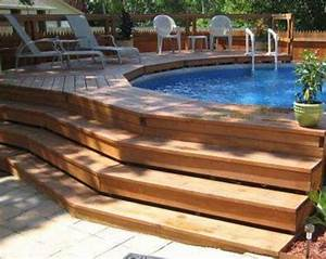 Landscaping and outdoor building swimming pool deck for Above ground swimming pool deck designs